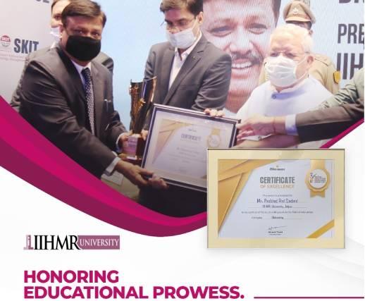 Dr. Prahlad Rai Sodani, President, IIHMR University, Jaipur Received the Education Excellence Award 2021