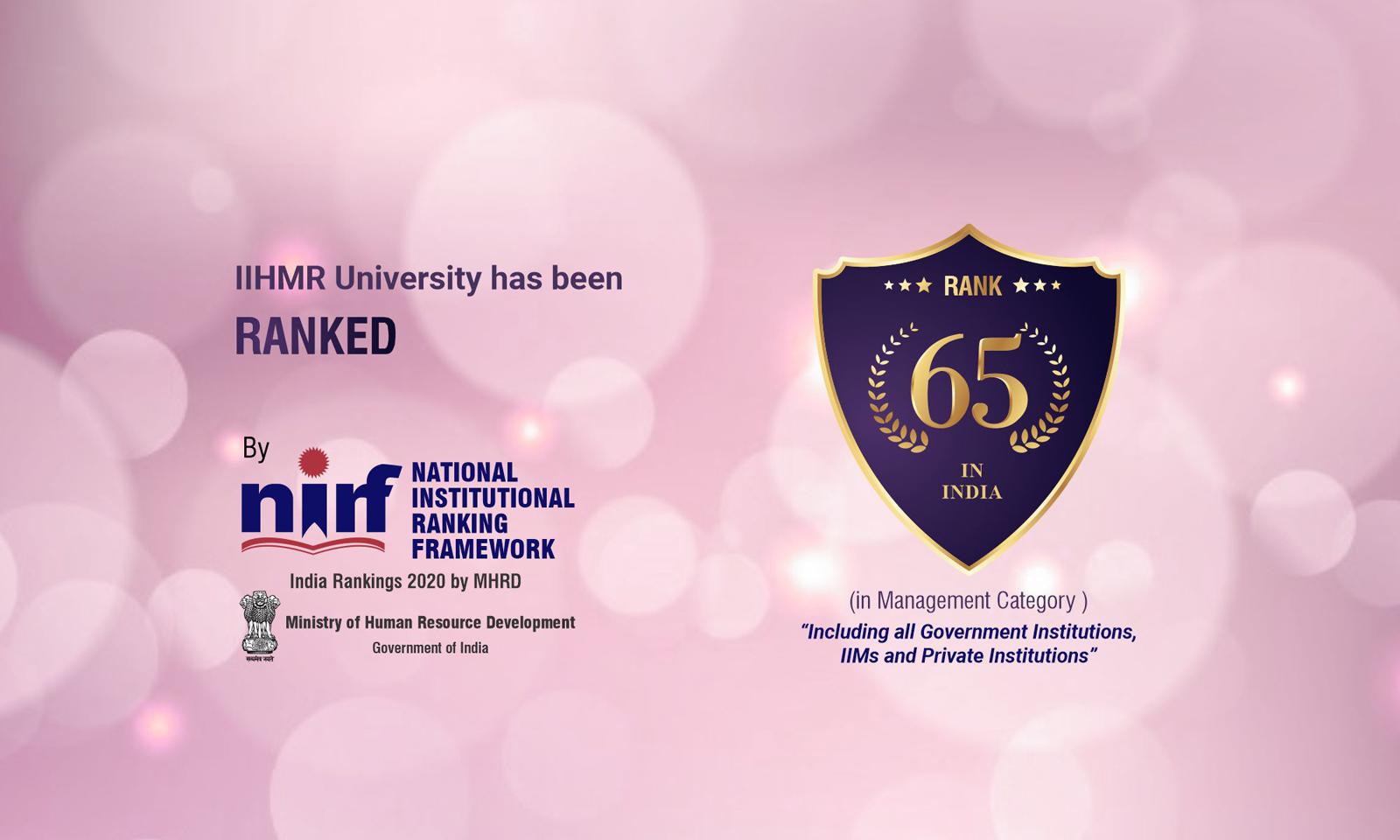 IIHMR Univesity ranked 65 in india by NIRF