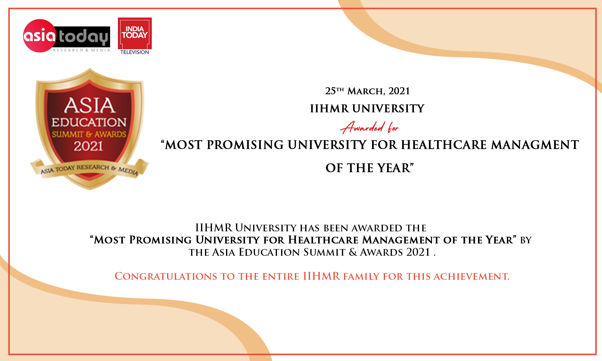 Most Promosing Univeristy for Healthcare Mangement of the Year - asia education award