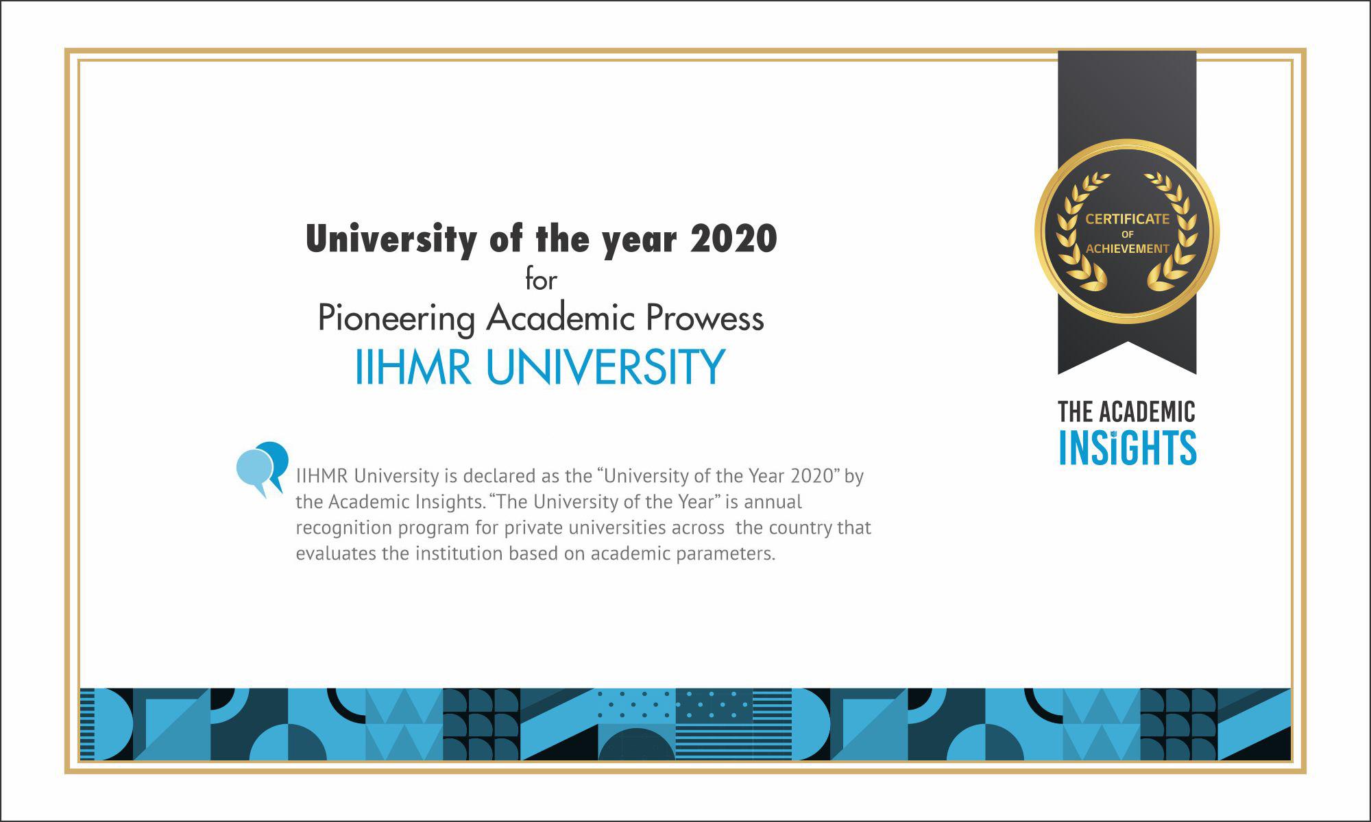 University of the year 2020, IIHMR University
